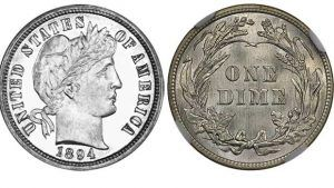 1894-S Barber dimes